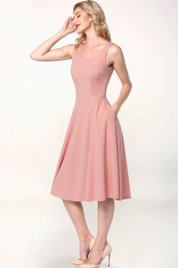 Dressystar women blush tea length swing dress side