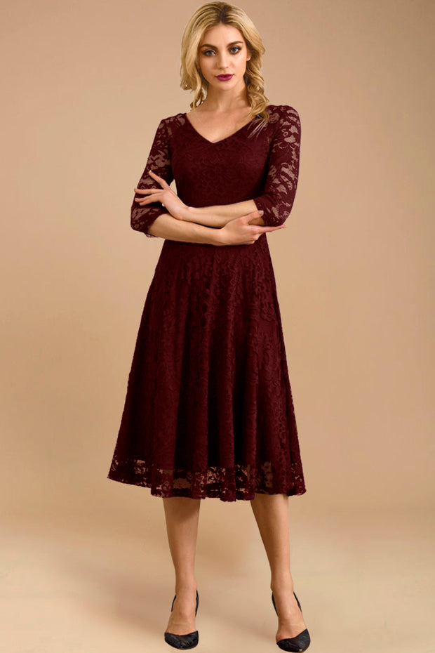 Dressystar women v neck midi lace dress 0058 burgundy main