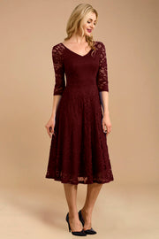 Dressystar women v neck midi lace dress 0058 burgundy front