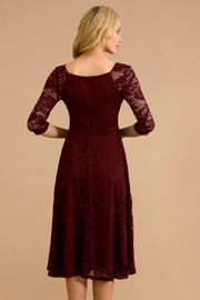Dressystar women v neck midi lace dress 0058 burgundy back
