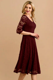 Dressystar women v neck midi lace dress 0058 burgundy side