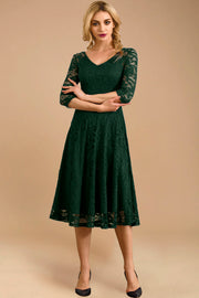 Dressystar women v neck midi lace dress 0058 darkgreen front