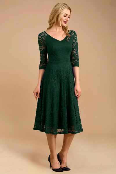 Dressystar women v neck midi lace dress 0058 darkgreen main