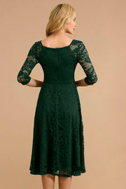 Dressystar women v neck midi lace dress 0058 darkgreen back