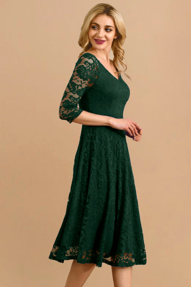 Dressystar women v neck midi lace dress 0058 darkgreen side