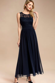 Dressystar women sleeveless maxi formal dress 0046 navy front