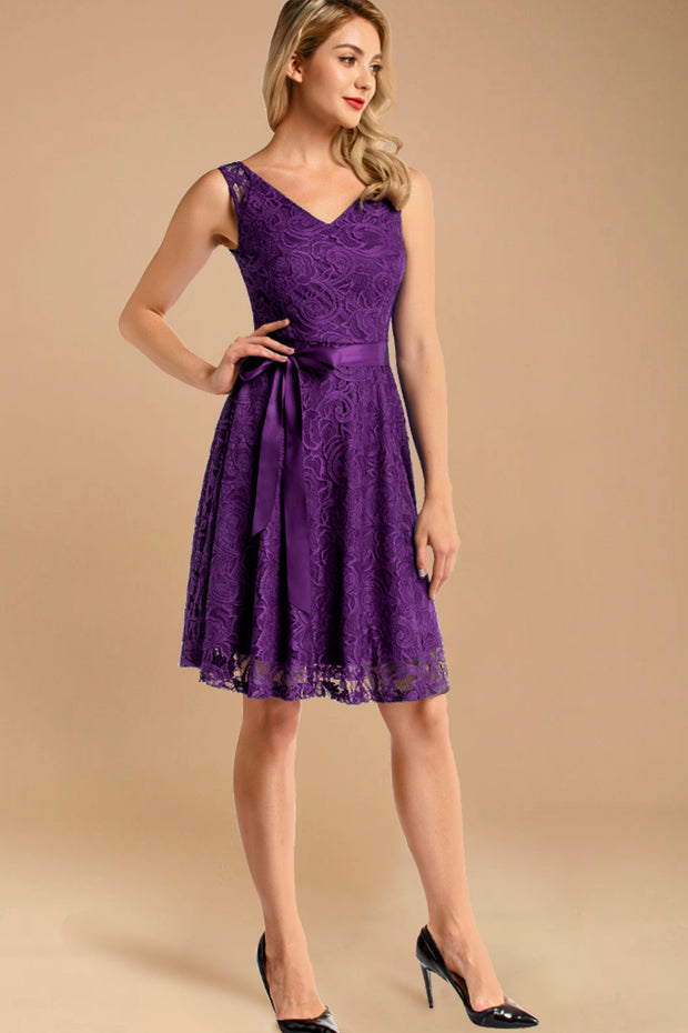 purple short lace dress with belt
