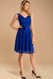 royalblue v neck lace bridesmaid dress with belt