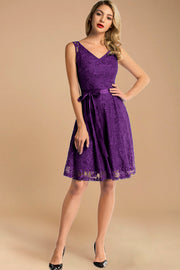 v neck short lace bridesmaid dress with belt purple