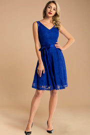 royalblue short lace dress with belt