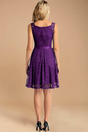 v neck short lace bridesmaid dress purple