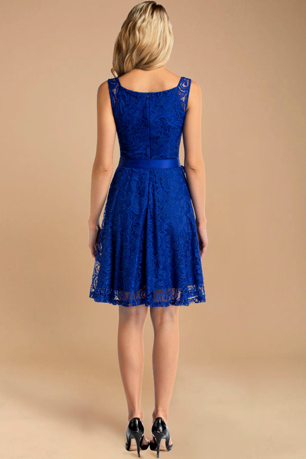 v neck short lace bridesmaid dress with belt royalblue