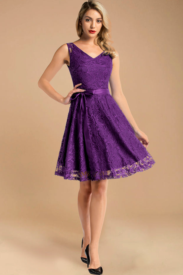 v neck short lace dress with belt purple