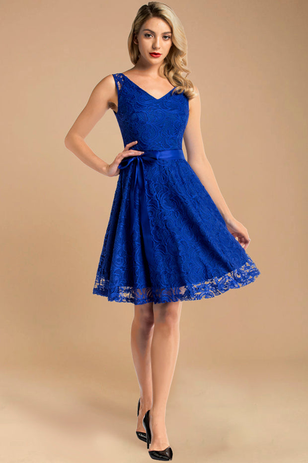 royalblue short sleeveless lace dress with belt