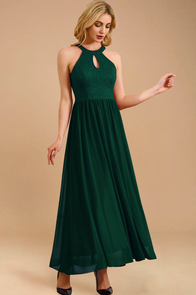 Dressystar women long halter formal evening gown 0048 darkgreen main