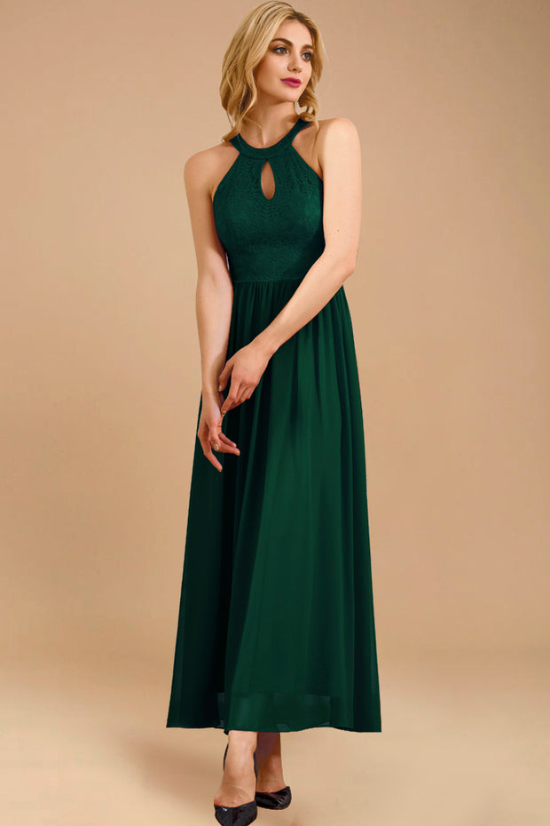 Dressystar women long halter formal evening gown 0048 darkgreen side