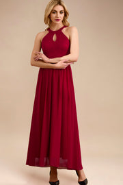 Dressystar women long halter formal evening gown 0048 red main