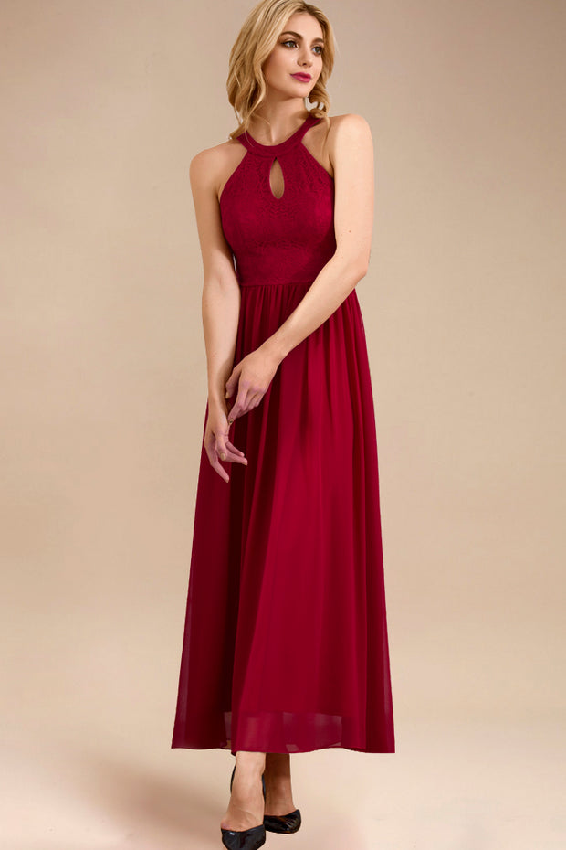 Dressystar women long halter formal evening gown 0048 red side