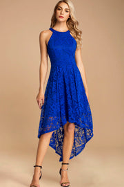 Dressystar women's halter hi-lo cocktail party dress 0028 royalblue front