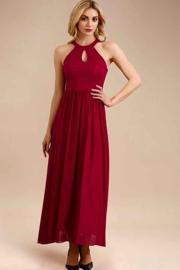 Dressystar women long halter formal evening gown 0048 red front