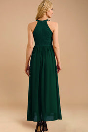 Dressystar women long halter formal evening gown 0048 darkgreen back