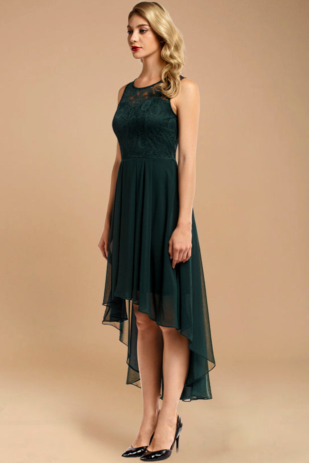 Dressystar women hi-lo formal dress 0038 green side