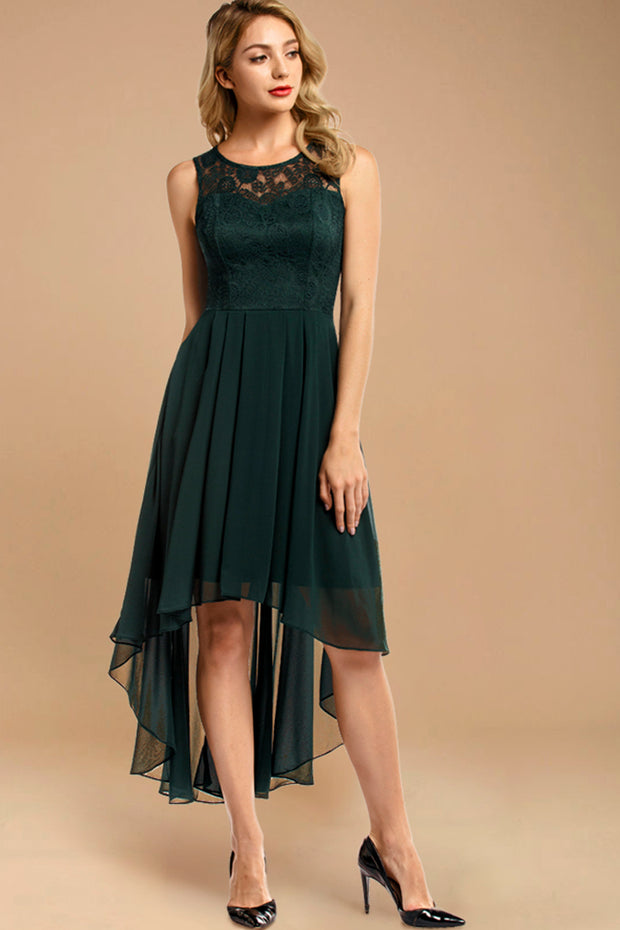Dressystar women hi-lo formal dress 0038 green front