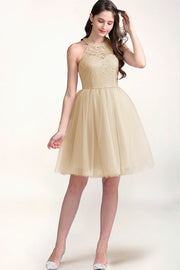 Dressystar women short halter cocktail dress 0068 champagne main