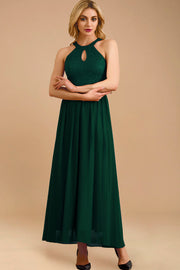 Dressystar women long halter formal evening gown 0048 darkgreen front