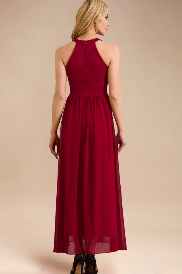 Dressystar women long halter formal evening gown 0048 red back
