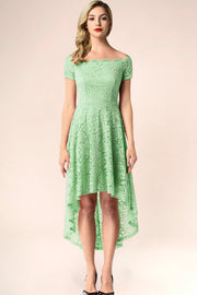 dressystar mint off shoulder lace high low dress front