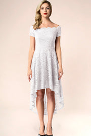 dressystar white off shoulder lace high low dress front