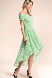 dressystar mint off shoulder lace high low dress side