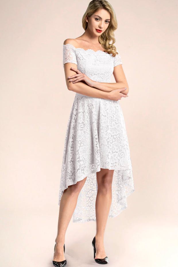 dressystar white off shoulder lace high low bridesmaid dress