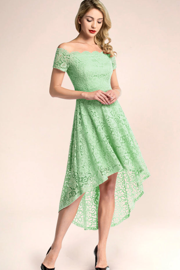 dressystar mint off shoulder lace high low formal dress