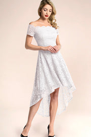 dressystar white off shoulder lace high low cocktail dress
