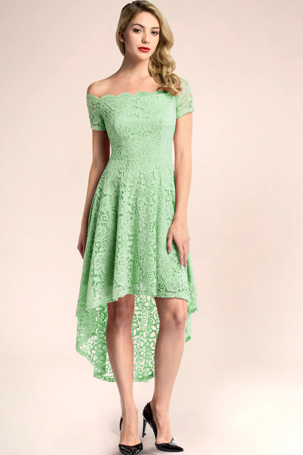 dressystar mint off shoulder lace high low cocktail dress