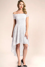 dressystar white off shoulder lace high low formal dress