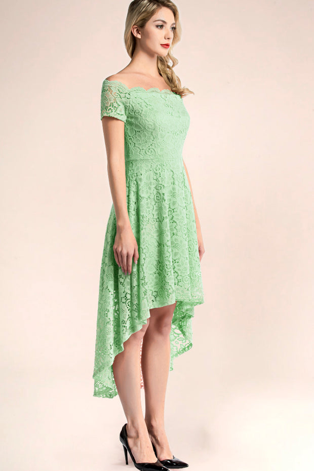 dressystar mint off shoulder lace high low bridesmaid dress