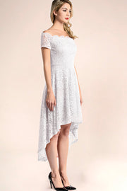 dressystar white off shoulder lace high low dress side