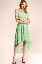 dressystar mint off shoulder lace high low party dress