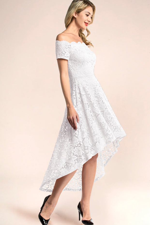 dressystar white off shoulder lace high low party dress