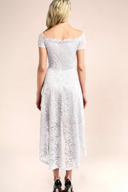dressystar white off shoulder lace high low dress back