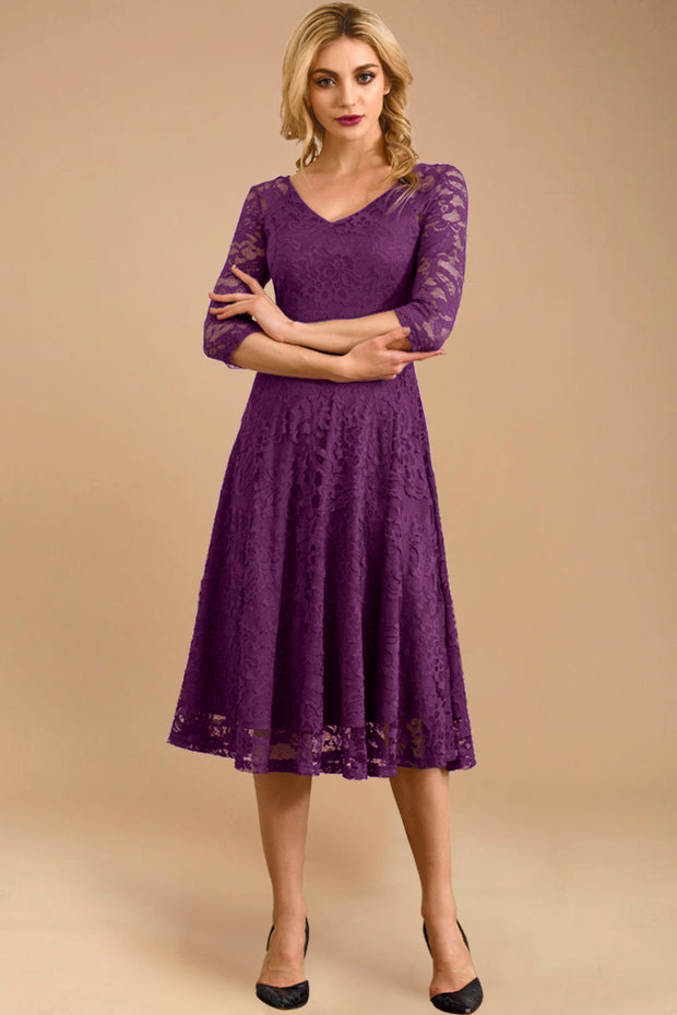 Dressystar women v neck midi lace dress 0058 purple front