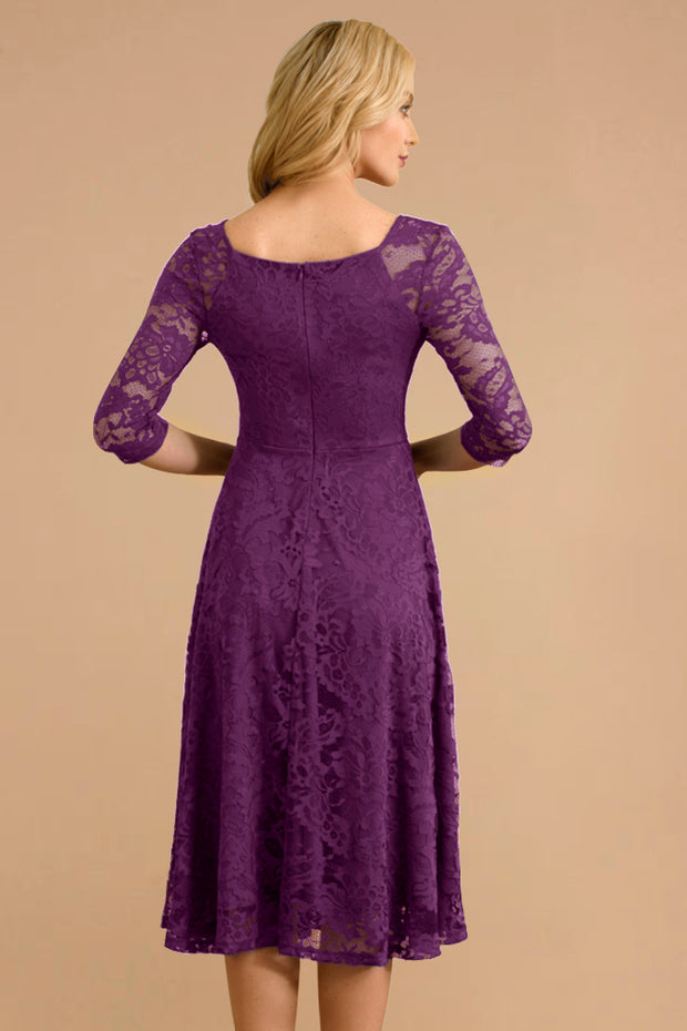 Dressystar women v neck midi lace dress 0058 purple back