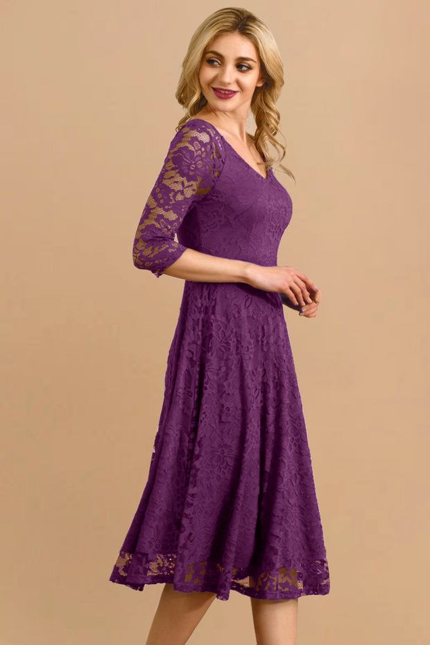 Dressystar women v neck midi lace dress 0058 purple main