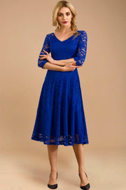 Dressystar women v neck midi lace dress 0058 royalblue front