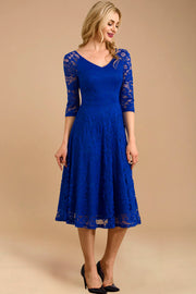 Dressystar women v neck midi lace dress 0058 royalblue main