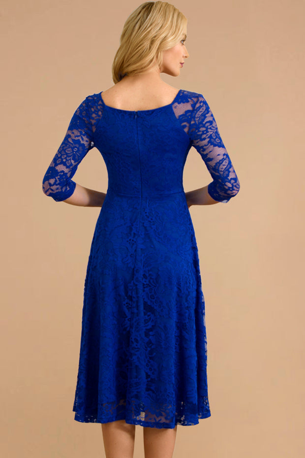Dressystar women v neck midi lace dress 0058 royalblue back