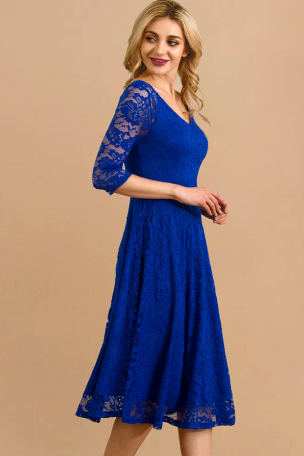 Dressystar women v neck midi lace dress 0058 royalblue side